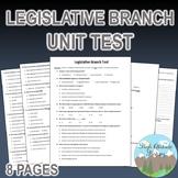 Legislative Branch Unit Test / Exam / Assessment (Government)