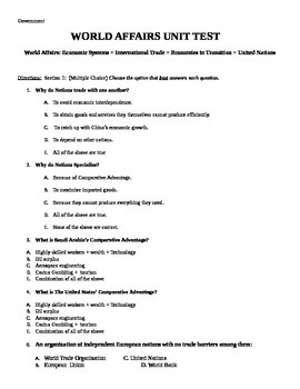 World Affairs Unit Test / Exam / Assessment (Government)