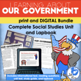 Government Unit, Lapbook, Text Print & Digital Distance Learning Bundle