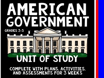 Government Unit  Study and Plans- 3 Weeks-Branches, Levels, Citizenship, Taxes