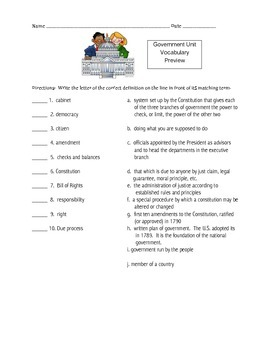 Government Unit Vocabulary Packet