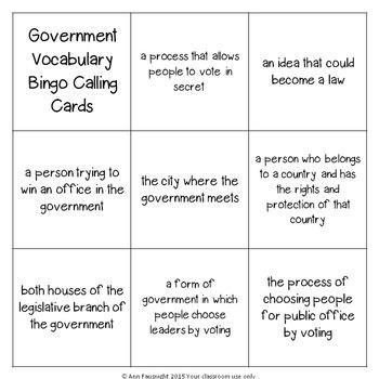 Government Vocabulary Bingo