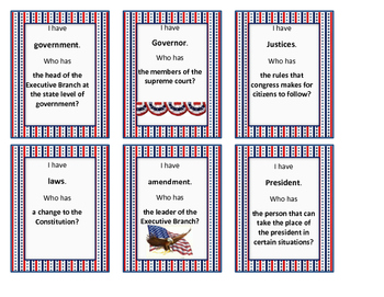 Government Vocabulary Game {Federal and State}