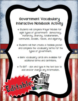 Government Vocabulary Interactive Notebook Activity