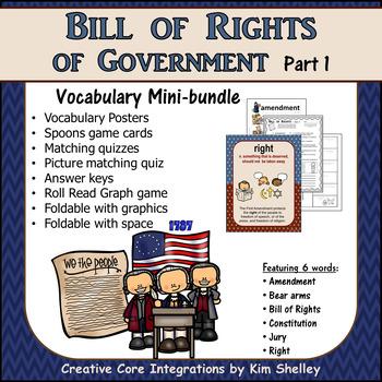 Government Vocabulary Mini-Set Bill of Rights 1