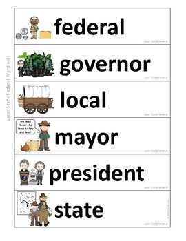 Government Vocabulary Mini-Bundle Levels of Government