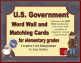 Government Vocabulary Word Wall and Matching for Elementary Grades
