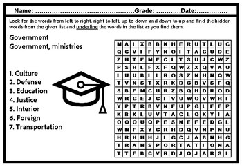 Government, Word Search Worksheets