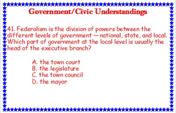 Government and Civic Understandings Task Cards