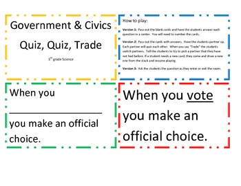 Government and Civics Quiz, Quiz, Trade Game/Center