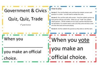 Government and Civics Quiz, Quiz, Trade Game/Center