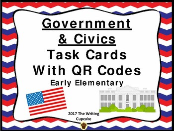 Government and Civics Task Cards with QR Codes for Early Elementary
