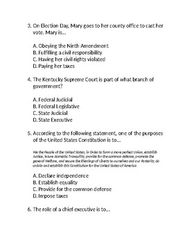 Government and Civics Unit Test
