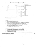 Government and Economic Terms Crossword --- Answer Key Included