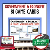 Government and Economy GAME CARDS (Economics and Free Enterprise)