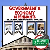 Government and Economy Word Wall Pennants (Economics and Free Enterprise)