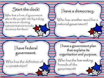 Government and More! I Have Who Has? Game Reviews Making Laws Three Branches ...