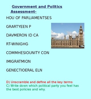 Government and Politics Assessment