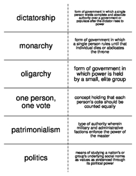 Government and Politics Vocabulary Flash Cards for Sociology