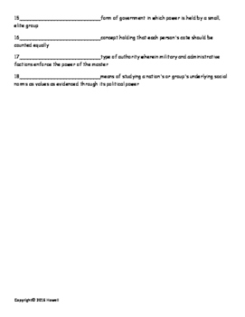 Government and Politics Vocabulary Quiz or Worksheet for Sociology