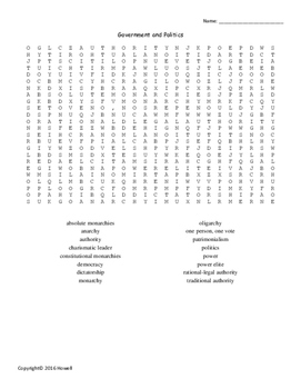 Government and Politics Word Search for Sociology