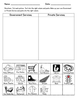 Government and Private Services Sort