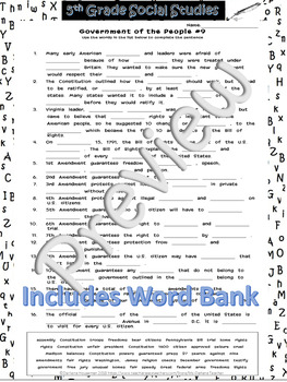 Government of the People Cloze/Fill In Blank#9~Social Studies Weekly~NO PREP