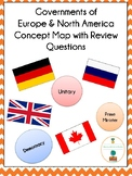 Governments of Europe & North America Concept Map with Review Questions