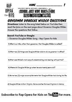 Governor Douglas Wilder Famous Virginian Black History Month Passage with Song