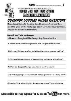 Douglas Wilder Virginia Studies 9, Virginia Studies Reading Passage with Song