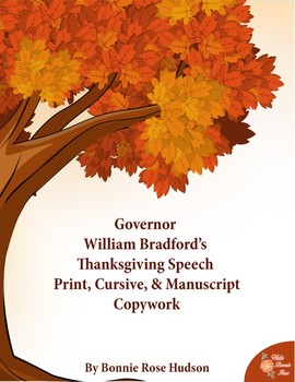 Governor William Bradford's Thanksgiving Speech-Copywork