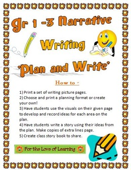 Gr 1-3 Narrative 'Plan and Writes' - Visual Prompts - Editable Planning Pages