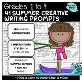 Gr 1-4 Summer Creative Writing Prompts: NO PREP Worksheets, Differentiated