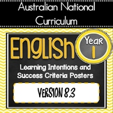 Version 8.3 - GRADE 1 -  All English Learning INTENTIONS & Success Criteria! AC