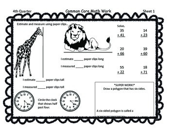 Gr 1 Common Core Math Skills Sheets FREEBIE for 4th nine weeks