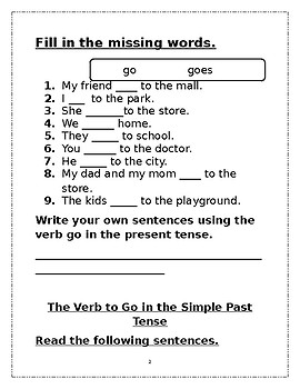 Gr. 1 Grammar Verb: to Go  Simple Present and Past Tense