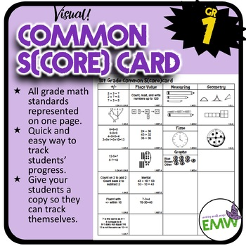 Gr 1: Math Common Score Card – 1 page visual of each Common Core math standard