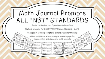 Gr 1 Math Journal Prompts/Topic Florida Standards B&W NBT