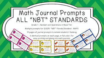 Gr 1 Math Journal Prompts/Topic Florida Standards COLOR NB