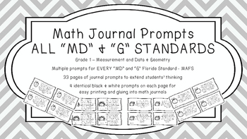 Gr 1 Math Journal Prompts/Topic Florida Standards MD G Mea