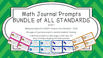 Gr 1 Math Journal Prompts/Topics Common Core COLOR EVERY STANDARD CCSS CC
