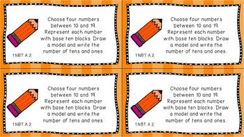 Gr 1 Math Journal Prompts/Topics Common Core COLOR NBT Number Base Ten CCSS CC