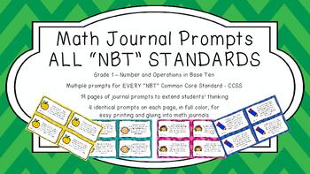 Gr 1 Math Journal Prompts/Topics Common Core COLOR NBT Num