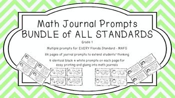 Gr 1 Math Journal Prompts/Topics Florida Standards B&W EVE