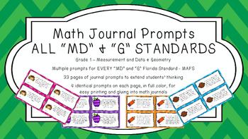 Gr 1 Math Journal Prompts/Topics Florida Standards COLOR MD Measurement Geometry