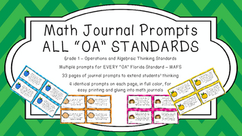 Gr 1 Math Journal Prompts/Topics Florida Standards COLOR OA Algebraic Thinking