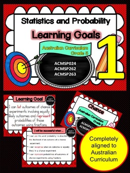 Gr 1  Maths  Statistics & Probability Learning Goals & Success Criteria posters.