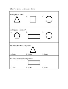 Gr. 1 Unit 6A Math Show What You Know Assessment/Test 2D Geometry