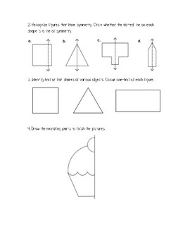 Gr. 1 Unit 9 Math Show What You Know Assessment/Test Geometry Applications