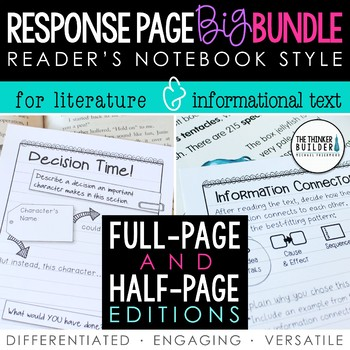 BIG BUNDLE: Reader's Notebook Response Pages *HALF-PAGE & FULL-PAGE*